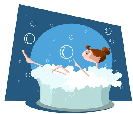 Beautiful woman taking a bath in bathtub Vector