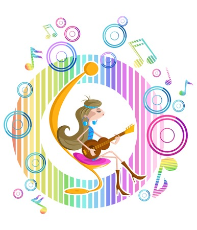 girl playing guitar: Abstract background with girl playing guitar Illustration