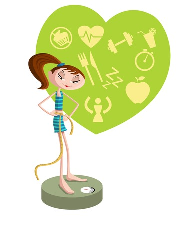 weighing scales: Conscious girl on weighing machine, weight loss concept
