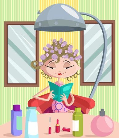 아름다운 소녀 살롱 롤러으로 그녀의 머리를 컬링 일러스트
