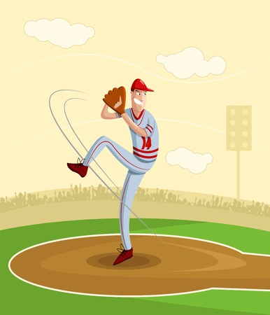 baseball stadium: cartoon style baseball pitcher in vector