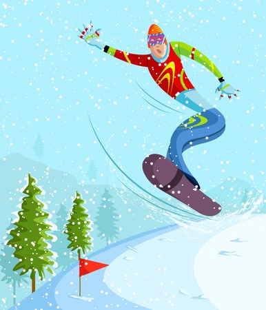 cartoon style snowboarding player in vector