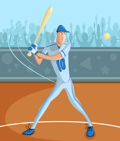 batter: cartoon style baseball batter in vector Illustration