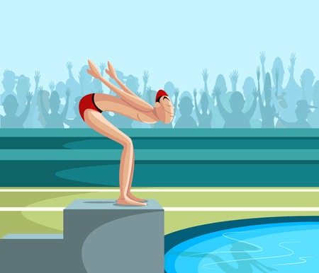 cartoon style swimmer diving into pool in vector Vector