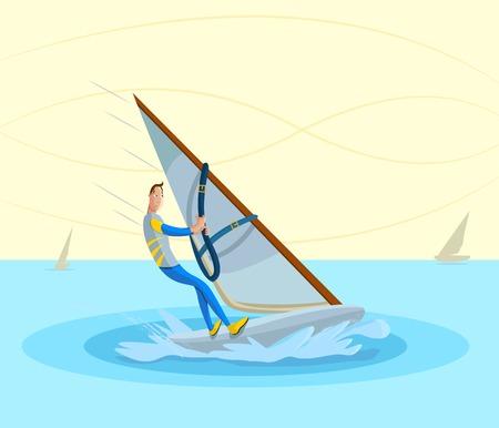 cartoon style sportsman doing windsurfing in vector