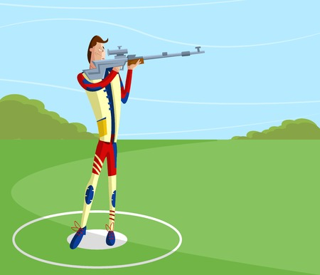 shootout: cartoon style shooter making aim with gun in vector