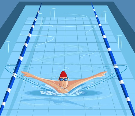 cartoon swimming: cartoon style swimmer swimming in pool in vector