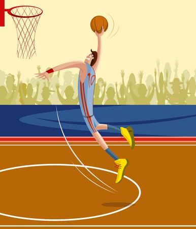 professional basketball league: cartoon style basketball player in vector