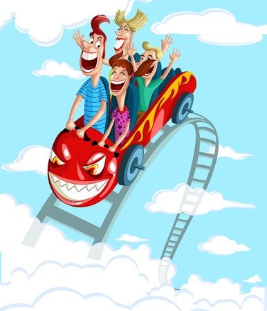 롤러 코스터의 재미를 타고 즐기는 행복한 가족