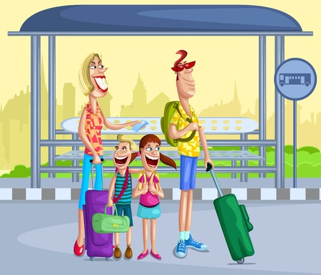 tour bus: Happy family at bus stop with travel bag Illustration