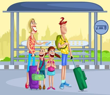Touring: Szczęśliwa rodzina na przystanku z torby podróżnej