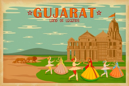 india culture: illustration depicting the culture of Gujrat, India Illustration