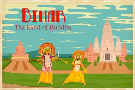 bihar: illustration depicting the culture of Bihar, India