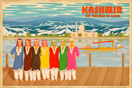 rural india: illustration depicting the culture of Kashmir, India