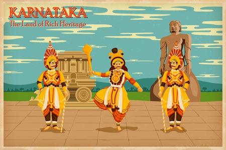 illustratie beeltenis van de cultuur van Karnataka, India Stock Illustratie