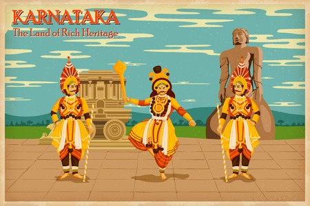 Ilustración que representa la cultura de Karnataka, India Foto de archivo - 27455231