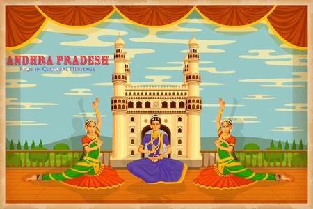 Illustrazione raffigurante la cultura di Andhra Pradesh, India Archivio Fotografico - 27455233