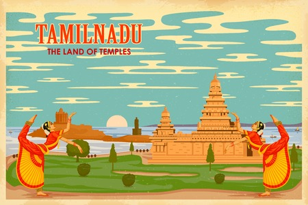 illustration depicting the culture of Tamilnadu, India Vector