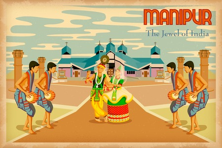 illustration depicting the culture of Manipur, India Vector