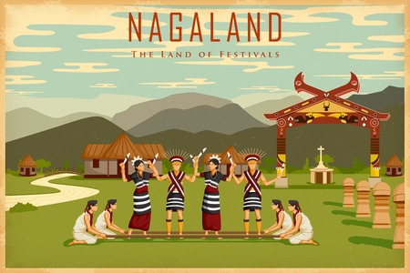 india culture: illustration depicting the culture of Nagaland, India Illustration