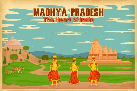 bhopal: illustration depicting the culture of Madhya Pradesh, India
