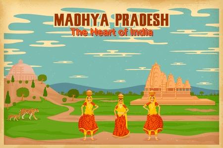 bhopal: ilustraci�n que representa la cultura de Madhya Pradesh, India Vectores