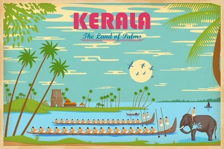 kerala culture: illustration depicting the culture of Kerala, India