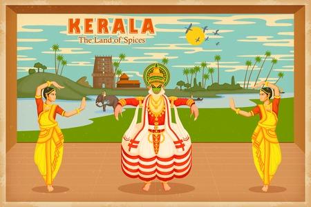 ilustración que representa la cultura de Kerala, India Vectores