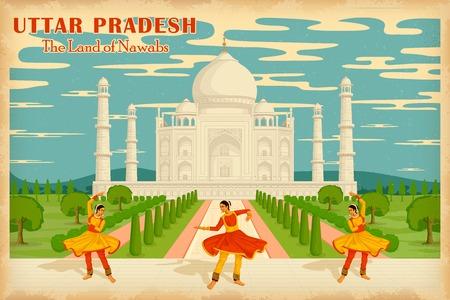 indian classical dance: illustration depicting the culture of Uttar Pradesh, India