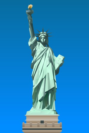 Statue of Liberty illustration in triangular pattern style Vector
