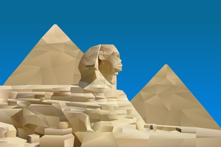 ancient civilization: Pyramid of Egypt illustration in triangular pattern style