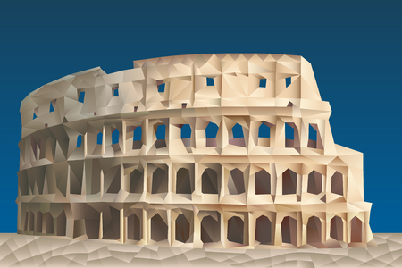 Colosseum illustration in triangular pattern style