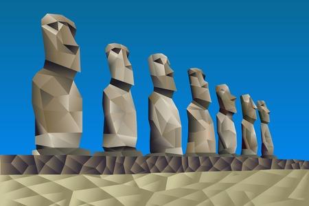 rapa nui: Isla de Pascua ilustración estatuas en estilo patrón triangular