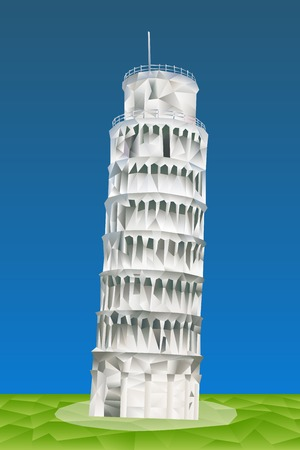 romanesque: Leaning Tower of Pisa illustration in triangular pattern style