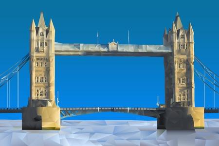 london bridge: London Bridge illustration in triangular pattern style