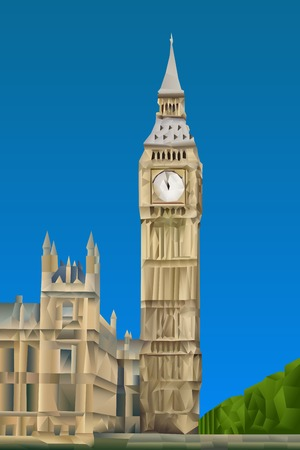 houses of parliament london: Big Ben Tower illustration in triangular pattern style Illustration