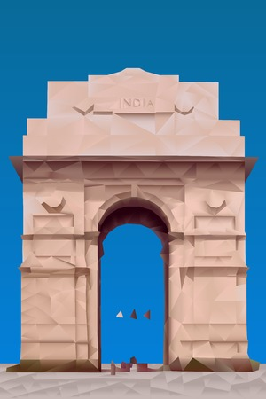 india gate: India Gate illustration in triangular pattern style