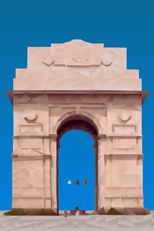 india gate: India Gate illustration in triangular pattern style