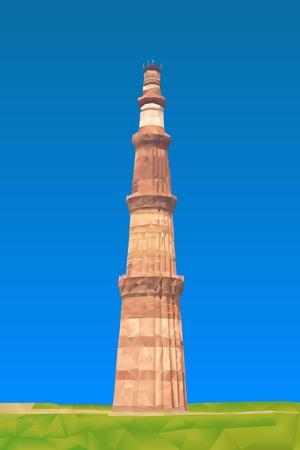 qutub minar: Qutub Minar illustration in triangular pattern style
