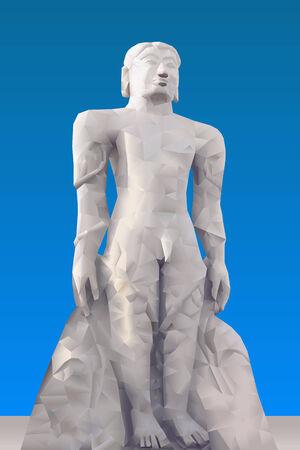 ahimsa: Statue of Mahavira illustration in triangular pattern style