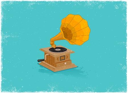 gramaphone: Retro gramaphone in vintage vector style