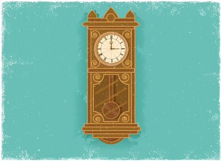 Antique clock in vintage vector style Illustration