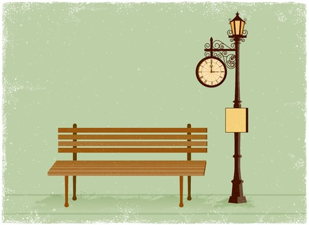 Street clock and lamp post with park bench in vintage vector style Illustration