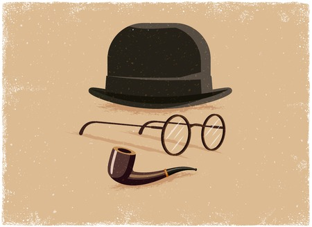 tobacco pipe: Hat, glasses and tobacco pipe in vintage vector style