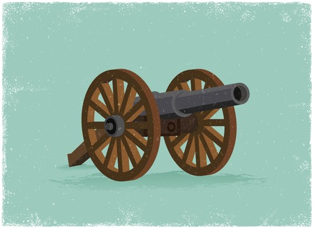 gunnery: Old Cannon in vintage vector style