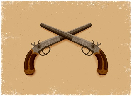 weaponry: Antique Pistol in vintage vector style Illustration