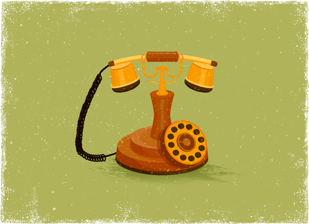rotary: Antique telephone in vintage vector style