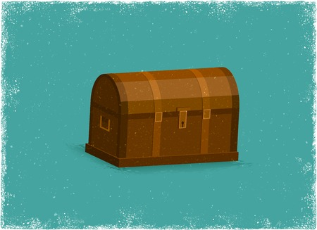 Antique Treasure Chest in vintage vector style