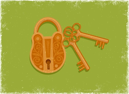 sheild: Antique padlock and key in vintage vector style Illustration