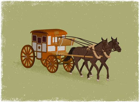 carriage: Horse Buggy in vintage vector style Illustration